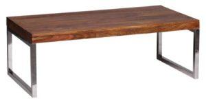 WOHNLING Couchtisch Massiv-Holz Sheesham ♥ Sheesham Couchtisch ♥ Natur ♥ Chrom Füße