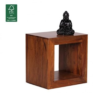 FineBuy Standregal Massivholz Sheesham Cube Regal ♥ Sheesham Beistelltisch  ♥ Sheesham Massivholz