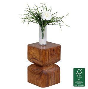 FineBuy Beistelltisch  Landhaus-Stil ♥ Sheesham Beistelltisch ♥ Sheesham ♥ aus Sheesham Massivholz