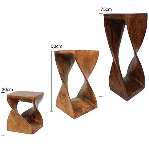 Blumenständer Holz - Wunderschöner gedrehter Hocker aus Akazienholz