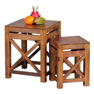 WOHNLING 2er Set Beistelltisch Massiv-Holz ♥ Sheesham Beistelltisch ♥ Natur ♥ Sheesham Massivholz