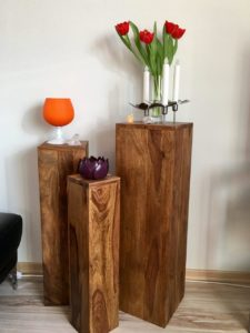 Blumensäule Holz Massiv Palisander 3er Set