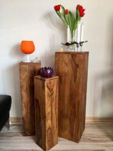 Blumensäule Holz Massiv mit Blumen Edelstein Pokal