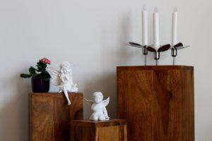 Schöne Dekoration vom 3er Set Blumenständer Holz Massiv
