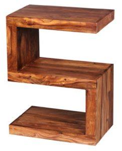 WOHNLING Beistelltisch Massiv-Holz Sheesham ♥ Sheesham Beistelltisch ♥ Natur ♥ Sheesham Massivholz