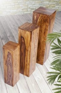 Blumensäule Holz Massiv - Palisander 3er Set Massivholz B/T/H 25x25x85 cm, 20x20x75 cm, 15x15x65 cm