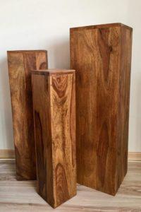 Blumensäule Holz Massiv 3er Set