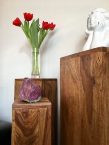 Blumensäule Holz Mit Engel Blumen Edelstein