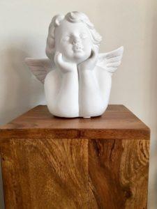 Blumensäule Palisander mit Engel weiß