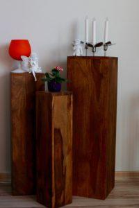 Blumensäule Holz dekoriert mit Engel Vase Elfe Blume