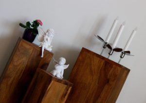 Blumensäule Holz Massiv mit Elfe und Engel und Kerzenleuchter